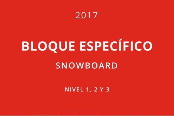 Bloques específicos snowboard 2017. Nivel 1, 2 y 3