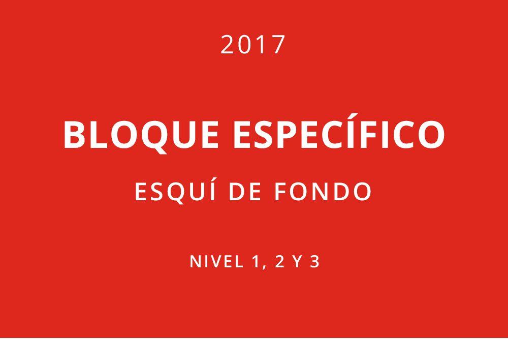BLOQUES ESPECÍFICOS ESQUÍ DE FONDO 2017. NIVEL 1, 2 Y 3