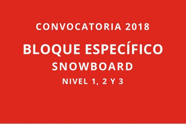 Convocatoria 2018. Bloques específicos snowboard. Nivel 1, 2 y 3